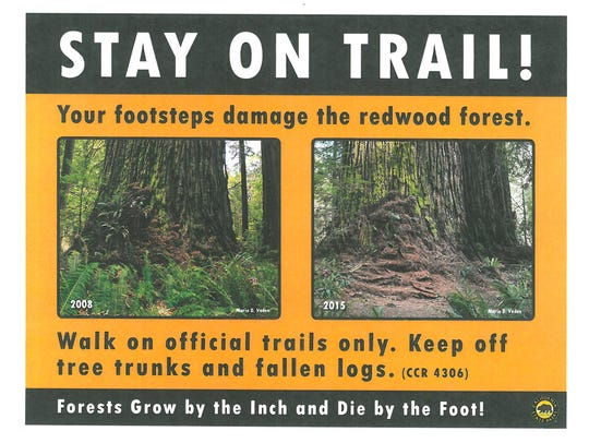 Signs placed last summer designed to keep hikers on