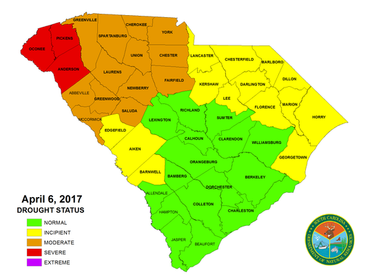 "Anderson, Oconee and Pickens remain in ""severe"" drought status"