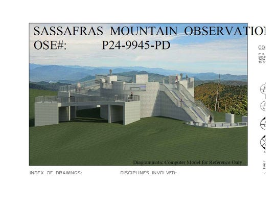 An artist's rendering of the observation platform to be built atop Sassafras Mountain