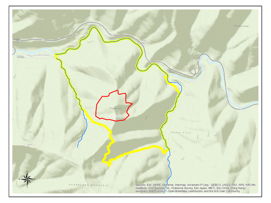Smokies rangers hoped to contain the Chimney Tops fire inside the 410-acre box drawn on this map. The plan failed.