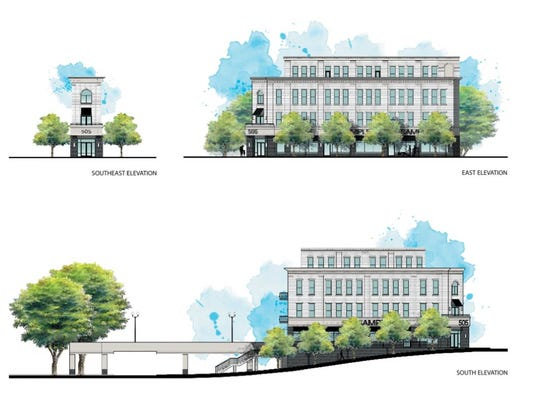 A sketch shows the proposed mixed use building at 505 Main from different views.