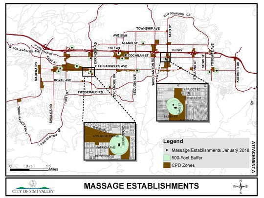 Simi Valley police say they continue to cite the city's massage establishments for a variety of violations, including prostitution. In response, the City Council on Monday night introduced an ordinance to establish a 500-foot separation requirement between massage businesses.