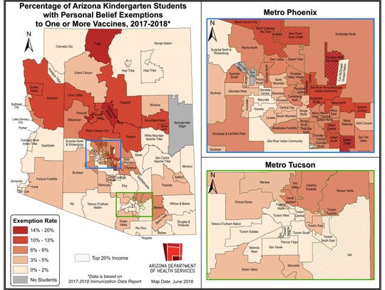 This map shows the percentage of kindergartners in