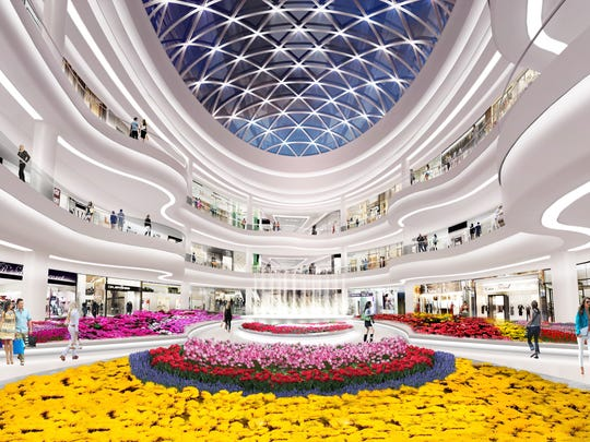 A rendering of the Flower Court inside American Dream Meadowlands.