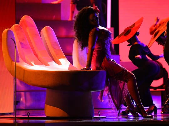 "Rihanna performs ""Wild Thoughts"" during the 60th Annual Grammy Awards at Madison Square Garden."