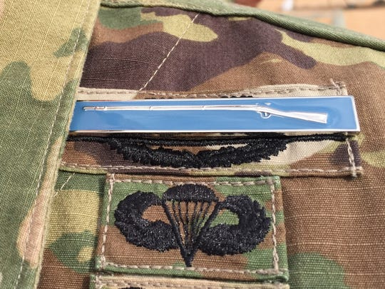 Close-up of what the Expert Infantryman Badge looks