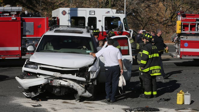 Yonkers police and fire and Greenville fire departments work at the scene of a motor vehicle accident in the vicinity of 2500 Central Park Avenue in Yonkers, Nov. 19, 2016