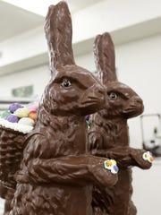 Chocolate bunnies weighing about 25 pounds at Seroogy's Chocolates.