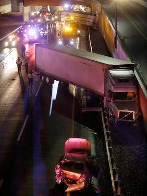 The scene of a 40-vehicle crash Monday night on the New Jersey Turnpike in Cranbury.
