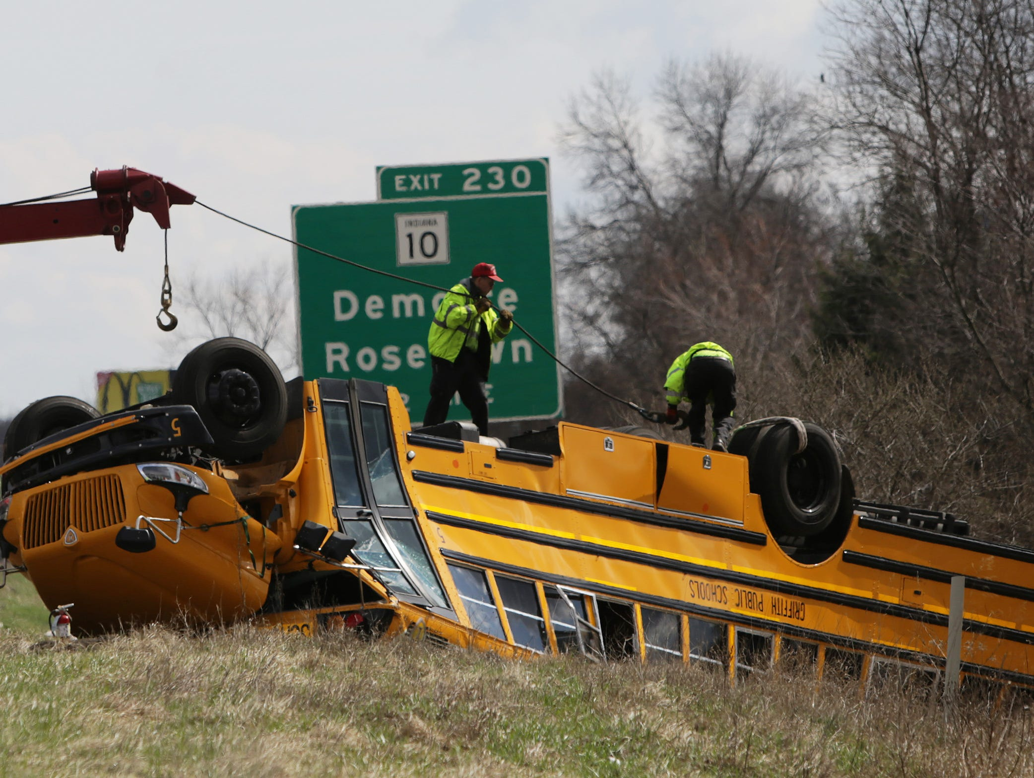 The school bus carrying the Griffith High School boys basketball team ended up on its top in a ditch along I-65 Saturday.