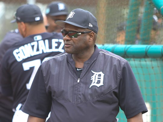 Tigers hitting coach Lloyd McClendon watches hitters