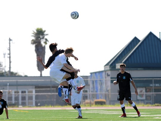 Sting Ray and Wind players go head to head during the 2017 Salinas Californian All-Star Classic soccer matches on Sunday, March 12th.