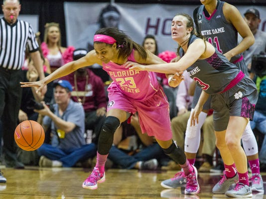 Florida State forward Ivey Slaughter (23) goes for the ball against Notre Dame guard Marina Mabrey in the second half of an NCAA college basketball game in Tallahassee, Fla., Monday, Feb. 22, 2016. (AP Photo/Mark Wallheiser)