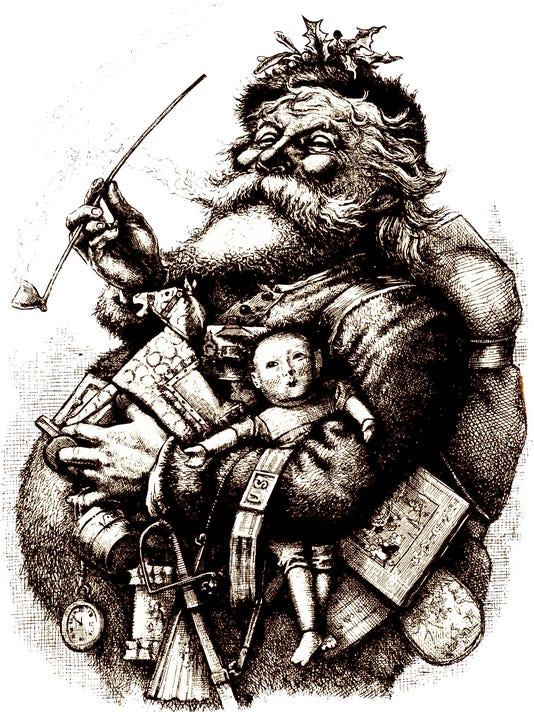 Thomas Nast cartoon of Santa Claus