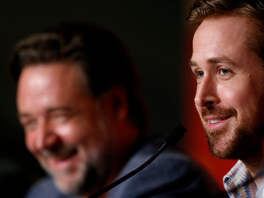"""Russell Crowe and Ryan Gosling (foreground) hype """"The Nice Guys""""  during the Cannes Film Festival on May 15, 2016, in  France."""