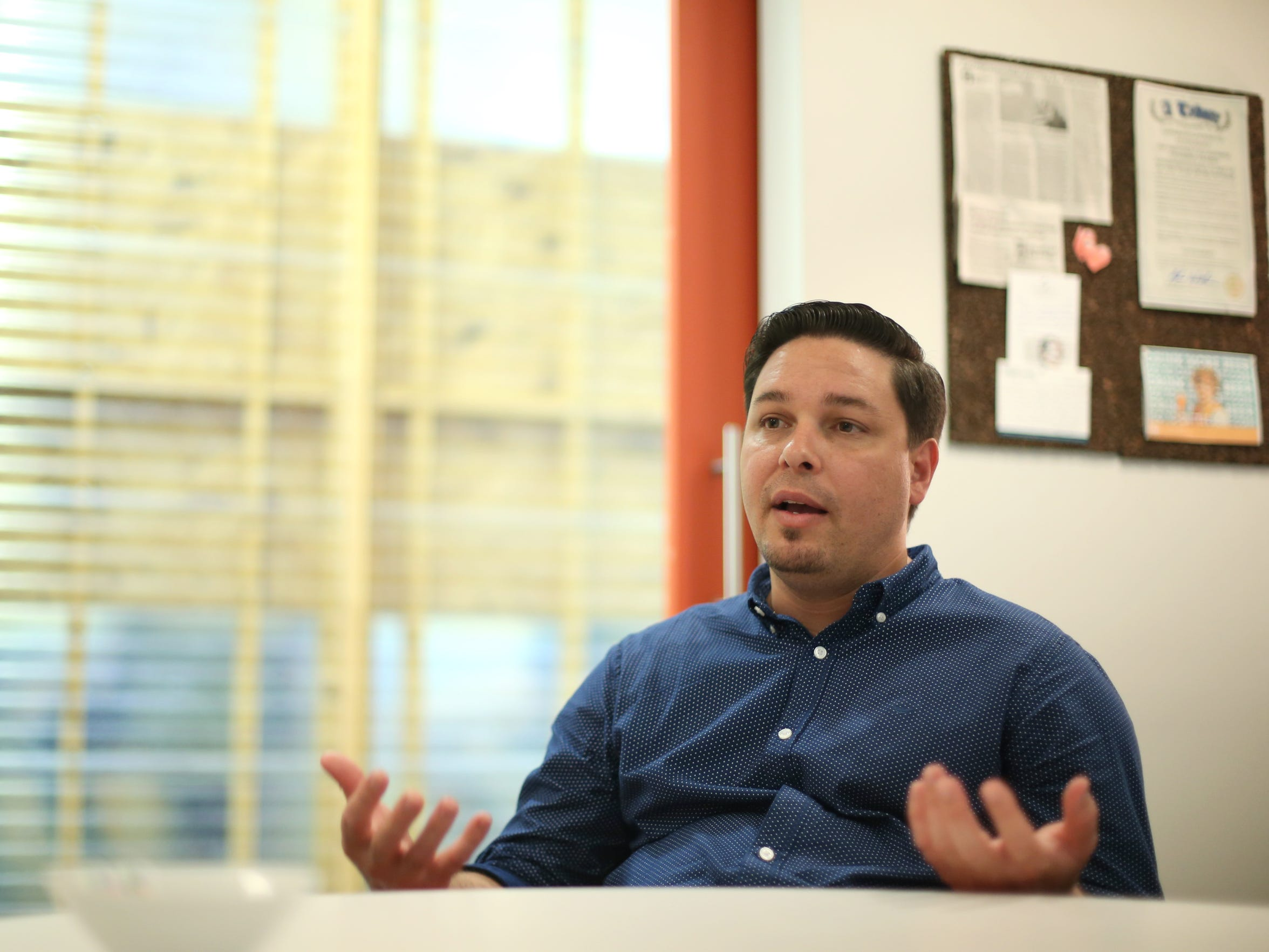 Frank Valcarcel, CEO of Cuttlesoft, sits inside their