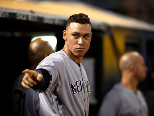Yankees outfielder Aaron Judge (99) reacts after the