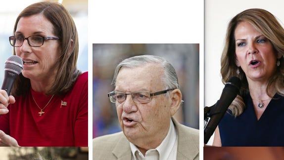 Arizona Senate candidates (clockwise from top left) Martha McSally, Joe Arpaio, Kelli Ward, Deedra Abboud and Kyrsten Sinema.