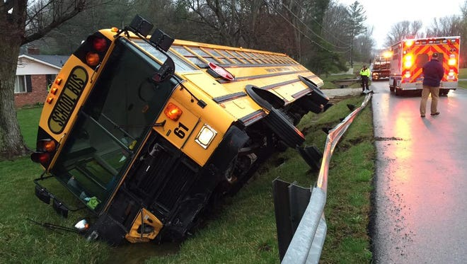 A Franklin Township school bus ended up on its side in a ditch this morning. No one was seriously hurt.