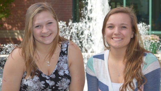 Mason High School senior students Emma Statt, left, and Erin Rockstroh both got perfect ACT scores in Septembmer