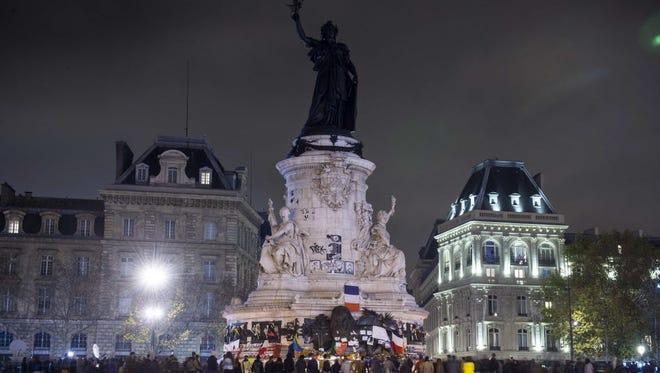 A memorial in Paris on Nov. 15, 2015.