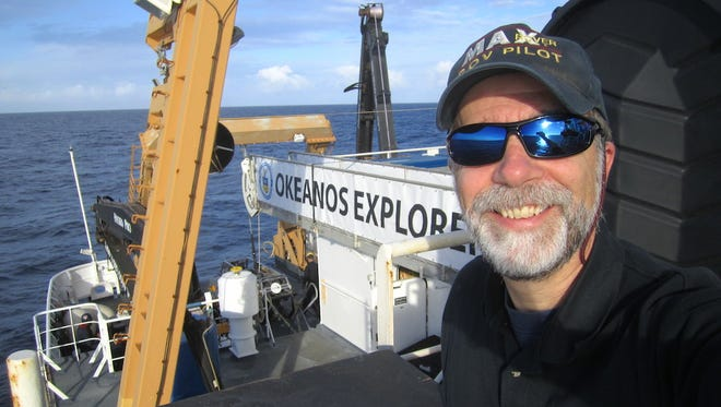 UL oceanographer Dr. Scott France aboard the NOAA Ship Okeanos Explorer during a 2015 expedition of the Johnson Atoll unit of the Pacific Remote Islands National Monument. He'll return to the ship – and to the Pacific – this week.
