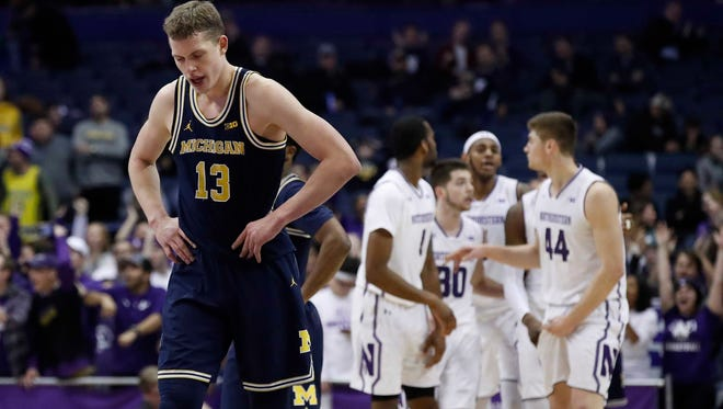 Michigan Wolverines forward Moritz Wagner (13) reacts during the second half against Northwestern Wildcats at Allstate Arena, Tuesday, Feb. 6, 2018.