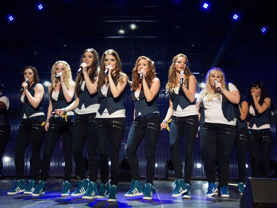 "Ester Dean, Shelley Regner, Kelley Alice Jakle, Hailee Steinfeld, Anna Kendrick, Brittany Snow, Alexis Knapp, Rebel Wilson and Hana Mae Lee, from left, perform as the Barden Bellas in ""Pitch Perfect 2."""