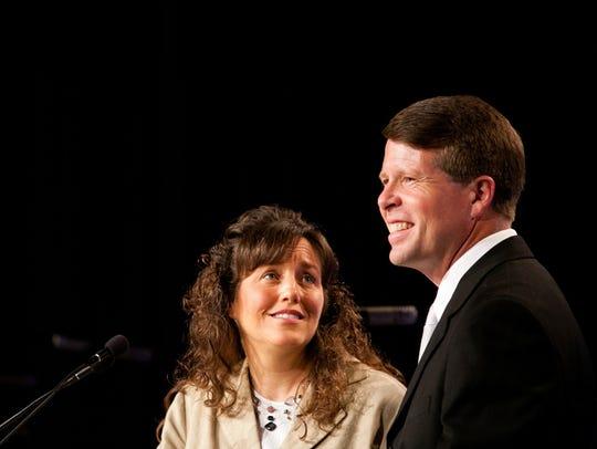 Michelle Duggar and Jim Bob Duggar speak at the Values