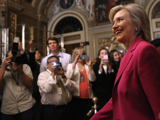 Hillary Clinton arrives for a meeting with Senate Democrats
