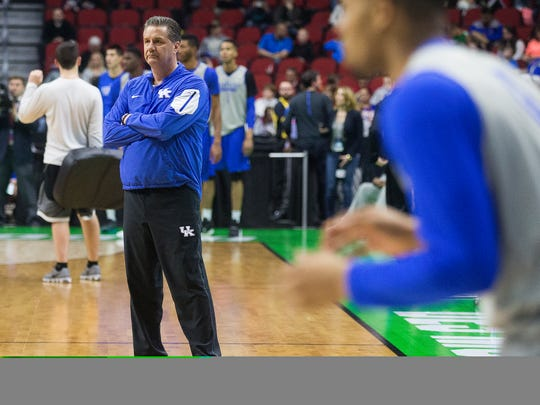 Kentucky Wildcats' head coach John Calipari overseas practice at Wells Fargo Arena in Des Moines, Wednesday, March 16, 2016.