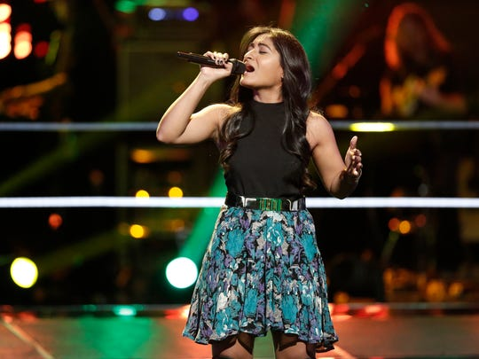 "Moushumi sings ""New Americana"" by Halsey in her Knockout Round on ""The Voice"" against Nick Hagelin of Atlanta, Georgia."