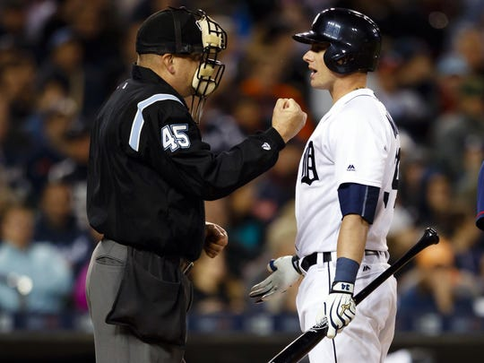 Tigers catcher James McCann talks to umpire Jeff Nelson after being called out on strikes against the Twins on Tuesday, May 17, 2016 at Comerica Park.