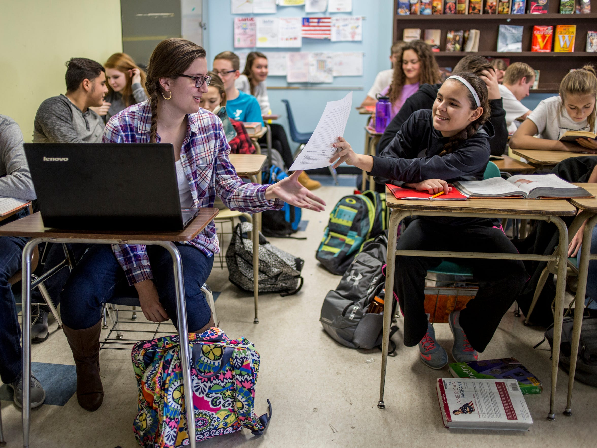 Gabrielle Allers, 14, works with Lucy Forlastro, 14,