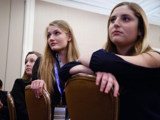 Students listen Rich Karlsgaard speak at the Desert Youth Town Hall in Indian Wells, Monday, Jan. 16, 2017.