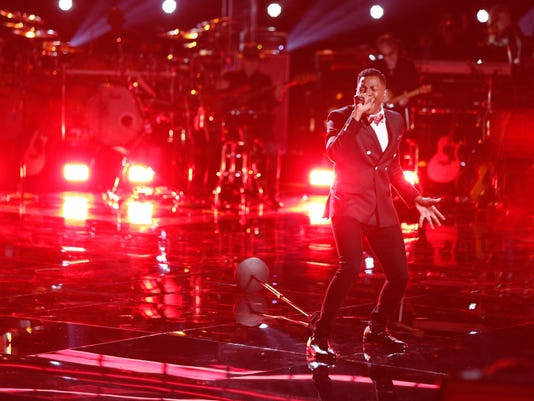 "Chris Blue performs in ""The Voice"" playoffs"