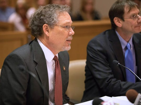 Keith Findley, co-director of the Wisconsin Innocence Project, addresses Dane County Circuit Judge Daniel Moeser on Feb. 14, 2017. Findley is representing Richard Beranek, who is seeking to overturn his 1990 sexual assault conviction based on new DNA evidence.