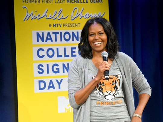 Michelle Obama speaks at MTV's 2017 College Signing Day in New York City.