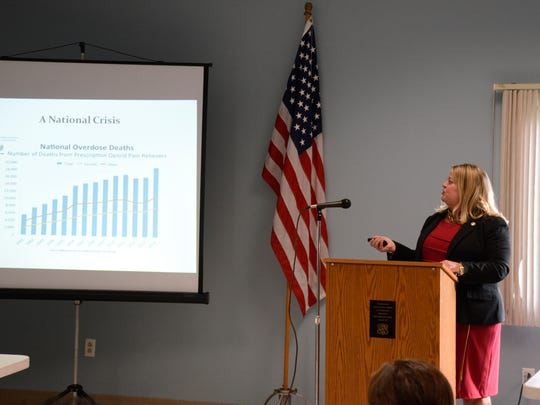 Julie Peterman, supervisor of the Union County Prosecutor's Task Force on Violent Crime and a veteran narcotics investigator, speaks during a Fanwood community forum on heroin addiction.