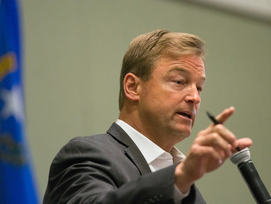 Sen. Dean Heller speaks at a town hall meeting on April