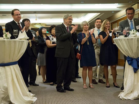 Terry Branstad, U.S. ambassador to China, with his wife Chris Branstad attend a reception hosted by the Iowa Sister States organization on Wednesday, Sept. 20, 2017, in Beijing, China.