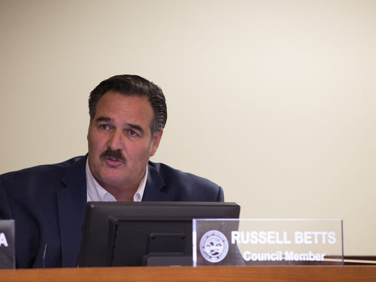 The Desert Hot Springs City council member Russell Betts at a previous council meeting.