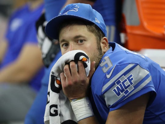 Lions quarterback Matthew Stafford on the bench in the final moments of the 20-15 loss to the Steelers at Ford Field on Sunday, Oct. 29, 2017.