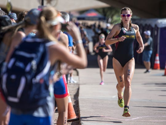 Charlotte Ahrens runs the 5-kilometer portion of the