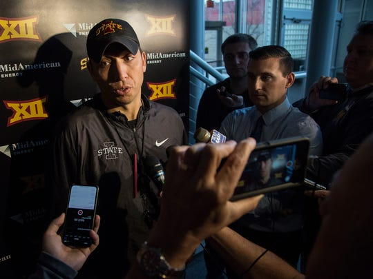 Matt Campbell, Iowa State football coach, talks to the media after finding out the team will play in the Liberty Bowl on Sunday, Dec 3, 2017 , in the Jacobson Building on the Iowa State campus. The Liberty Bowl will be played on Dec. 30 at 11:30AM in Memphis.