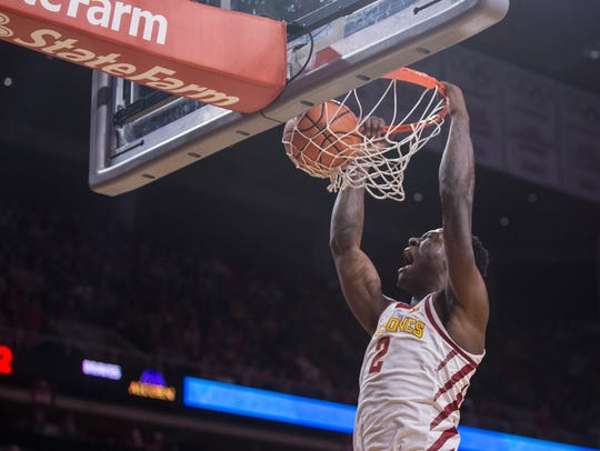 Iowa State's Cameron Lard gets a dunk in the final