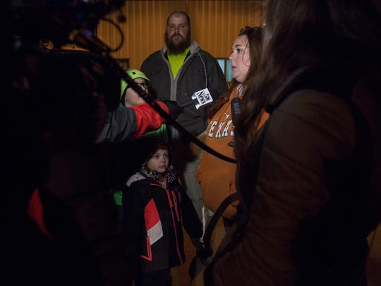 Kasie Haven, of Oakland, talks to the media with her family at her side before a prayer vigil for Donald Hendricks, 74, of Carson and a bus driver for the Riverside Community School District, and Megan Klindt, 16, of rural Oakland, a student a Riverside, who were killed in a school bus fire this morning, Tuesday, Dec. 12, 2017, at Fellowship Church in Oakland. Haven's children rode on Hendricks bus to school, she he was a good driver who looked out for the kids.