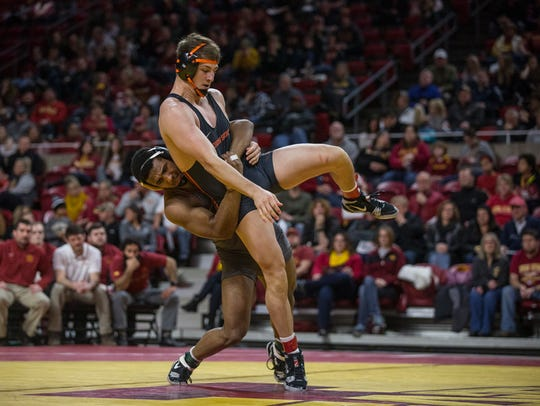 Iowa State's Sam Colbray wrestles Oregon State's Corey