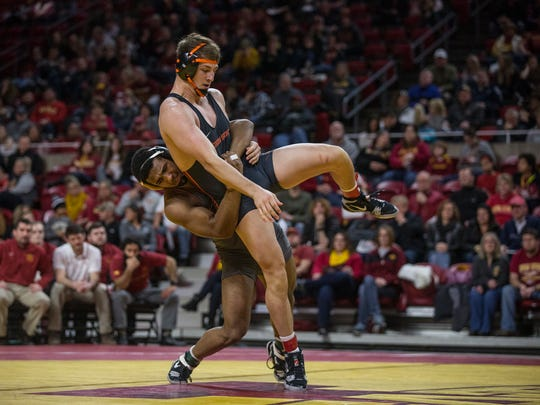Iowa State's Sam Colbray wrestles Oregon State's Corey Griego at 197 during a dual between the two teams on Sunday, Jan. 7, 2017, in Hilton Coliseum. Griego won by decision, 7-1. Iowa State won the dual, 24-16, earning their first win of the season.