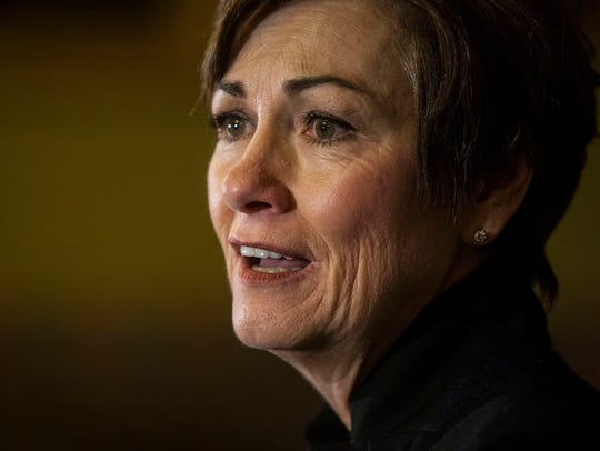 Kim Reynolds, Governor of Iowa, holds a news conference